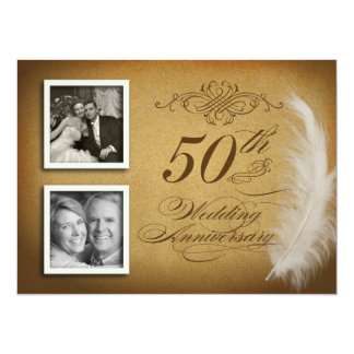 "50th Anniversary Fancy Feather 2 Photo Invites 5.5"" X 7.5"" Invitation Card"