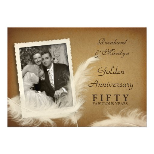 50th Anniversary Fancy Feather Photo Invitations