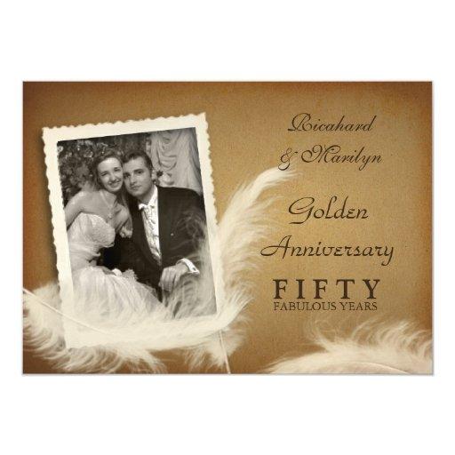 Th anniversary fancy feather photo invitations zazzle