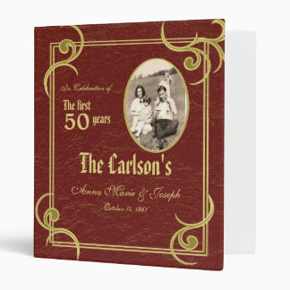 50th Anniversary Faux Book 3 Ring Binder