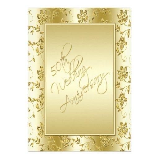 50th Anniversary FAUX Gold Glitter II Invitation