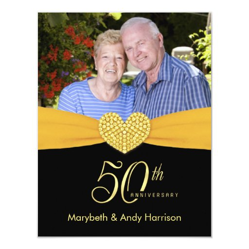 50th Anniversary - Faux Pocket Photo Invitations