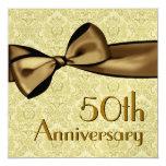 50th  Anniversary Faux Satin Bow Metallic Paper Personalized Invite