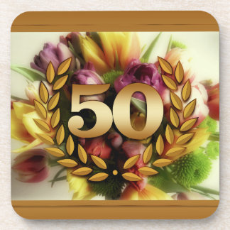 50th anniversary floral illustration golden frame coasters