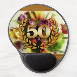 50th anniversary floral illustration golden frame gel mouse pad