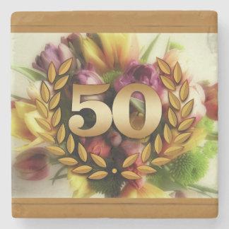 50th anniversary floral illustration golden frame stone coaster