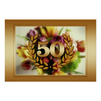 50th anniversary floral illustration golden frame poster