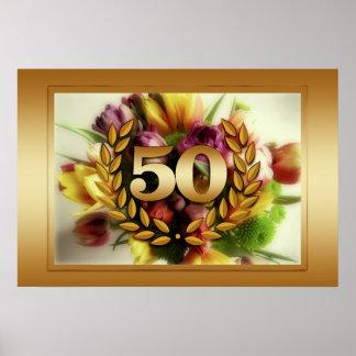 50th anniversary floral illustration golden frame poster