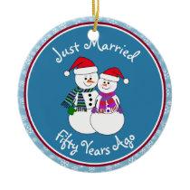 50th Anniversary Gift Fun Snow Couple Christmas Ceramic Ornament