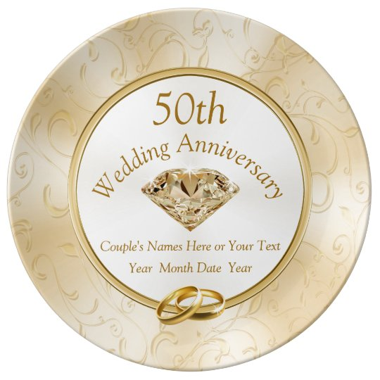Gift Ideas For A 50th Wedding Anniversary: Customizable 50th Wedding Anniversary Gifts Plate