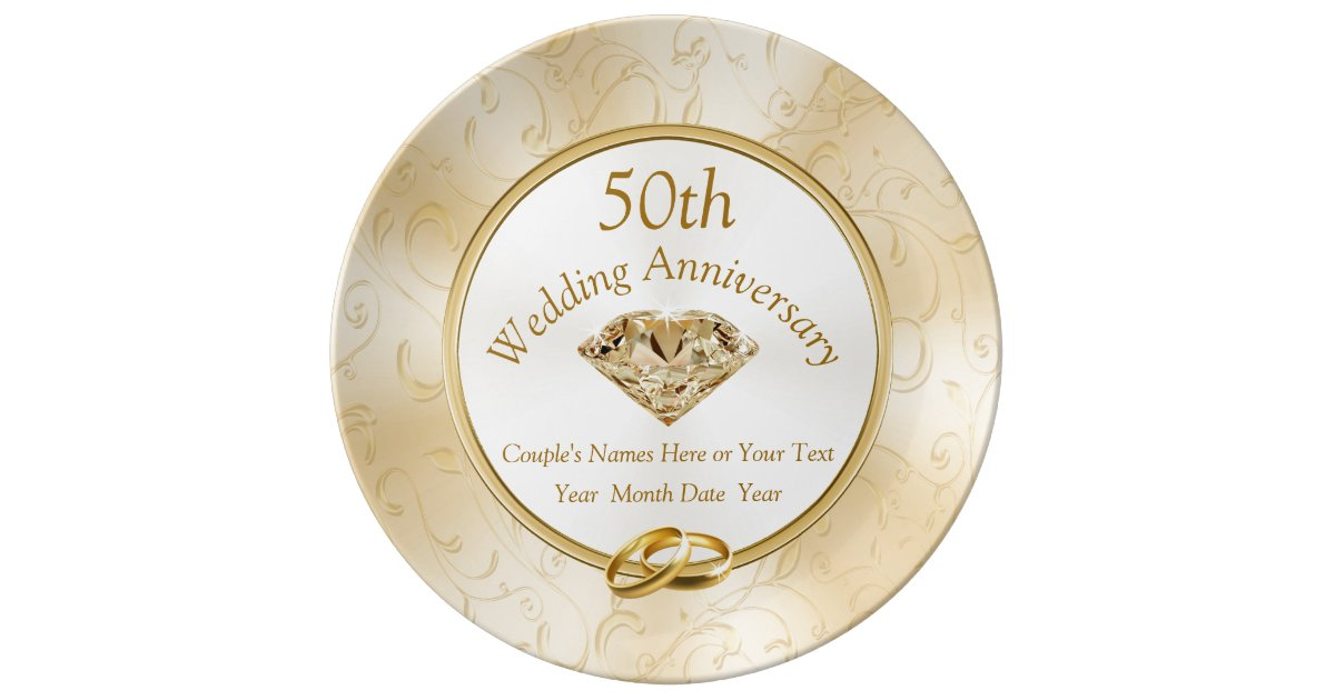 Gifts For 50th Wedding Anniversary For Friends: 50th Anniversary Gift Ideas For Friends, Family Plate