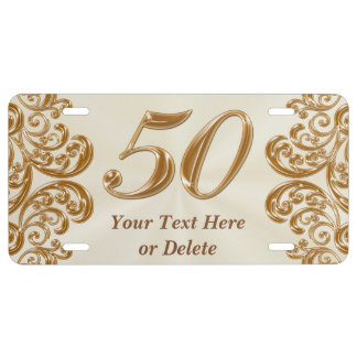 50th Anniversary Gifts Personalized License Plate