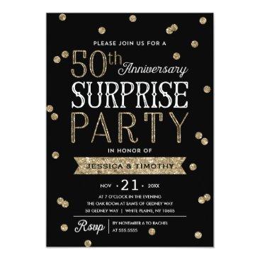 anniversarie 50th Anniversary Glitter Confetti Surprise Party Card