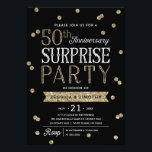 """50th Anniversary Glitter Confetti Surprise Party Invitation<br><div class=""""desc"""">This chic and stylish 50th Anniversary Surprise Party invitation features an elegant rose gold glitter confetti theme with modern typography. Customize the background color to match your event&#39;s theme. For an even more memorable invitation select a die-cut shape, textured paper or a double thick paper. For a customized year, please...</div>"""