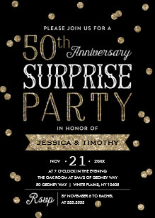 50th anniversary glitter confetti surprise party invitation