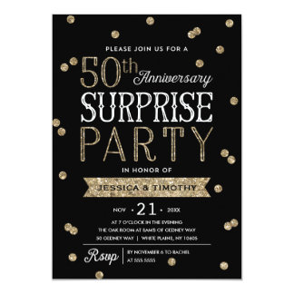 50th Anniversary Glitter Confetti Surprise Party Invitation Zazzle_invitation2