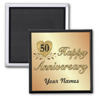 50th Anniversary - Gold 2 Inch Square Magnet