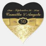 "50th Anniversary Gold and Black 1.5"" Heart Sticker"