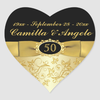 "50th Anniversary Gold and Black 1.5"" Heart Sticker"
