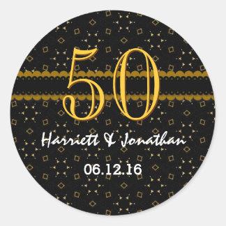 50th Anniversary Gold and Black Confetti V004D Classic Round Sticker