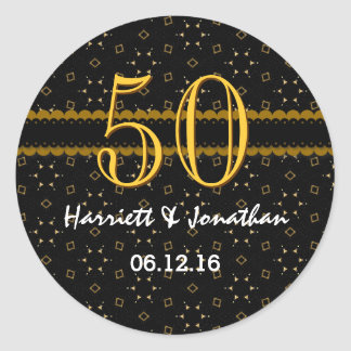 50th Anniversary Gold and Black Confetti V004D Sticker