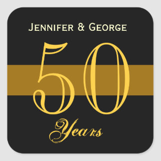 50th Anniversary Gold and Black Custom Name Square Sticker