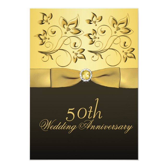 50th Anniversary Gold and Black Floral Jeweled Card
