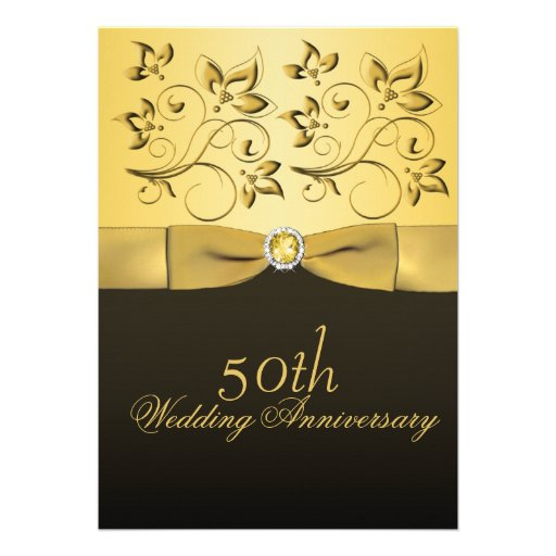 50th Anniversary Gold and Black Floral Jewelled Personalized Invitations