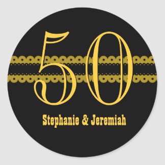 50th Anniversary Gold and Black Scallops V007 Classic Round Sticker