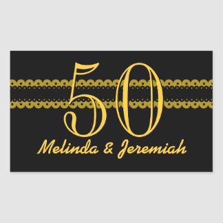 50th Anniversary Gold and Black Scallops V008 Rectangular Sticker