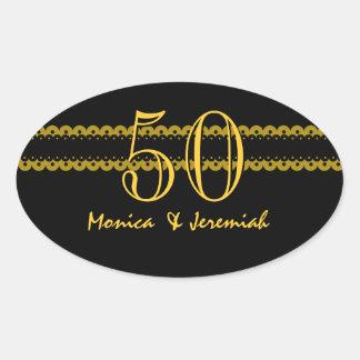 50th Anniversary Gold and Black Scallops V009 Oval Sticker