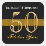 50th Anniversary Gold and Black V002 Square Sticker