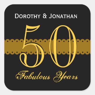 50th Anniversary Gold and Black V003 Square Sticker