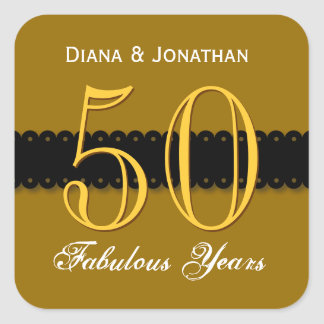 50th Anniversary Gold and Black V004A Square Sticker
