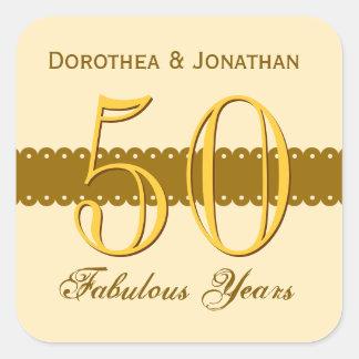 50th Anniversary Gold and Ecru V005 Square Sticker