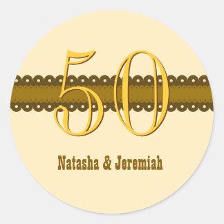 50th Anniversary Gold and Ecru V006A Classic Round Sticker