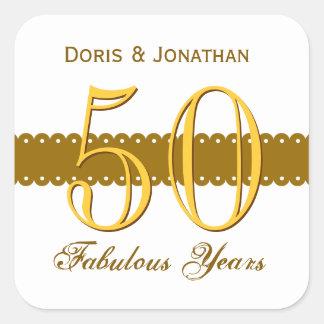 50th Anniversary Gold and White V004 Square Sticker