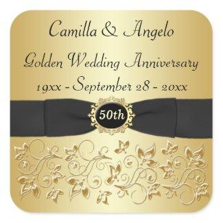 """50th Anniversary Gold, Black 1.5"""" Square Sticker"""