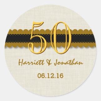 50th Anniversary Gold Black Cream V004C Classic Round Sticker