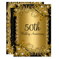 50th Anniversary Gold Black Diamond Floral Swirl