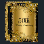 """50th Anniversary Gold Black Diamond Floral Swirl Card<br><div class=""""desc"""">50th Wedding Anniversary Invitation. Elegant diamond flowers &amp; black swirl. Please note: All flat images! They do not have real jewels!</div>"""