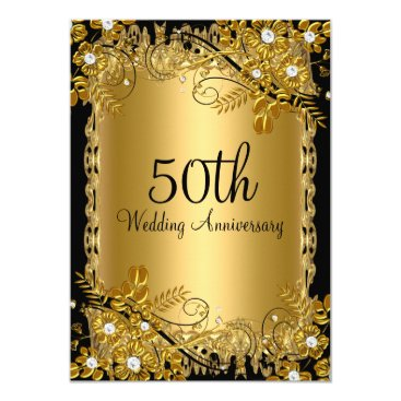 anniversarie 50th Anniversary Gold Black Diamond Floral Swirl Card