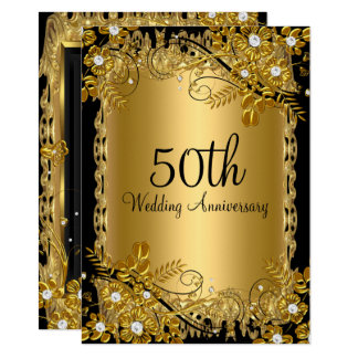 50th Anniversary Gold Black Diamond Floral Swirl Invitation