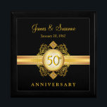 """50th Anniversary Gold Black Keepsake Gift Box<br><div class=""""desc"""">Beautiful Victorian style vintage gold filigree emblem with jewel accents on black background. Just customize the names or use monogram initials, and wedding for the special Golden Anniversary couple on your gift list. Can be easily customized for other gift-giving celebrations -- holiday, birthday, retirement, graduation, or any special occasion that...</div>"""