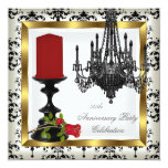 50th Anniversary Gold Chandelier Red Rose Candle Invitations