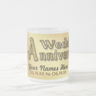 50th Anniversary - Gold - Customize Frosted Glass Coffee Mug