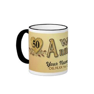 50th Anniversary - Gold - Customize Ringer Coffee Mug