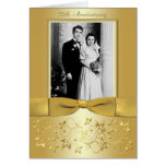 50th Anniversary Gold Floral Photo Invitation Card Cards