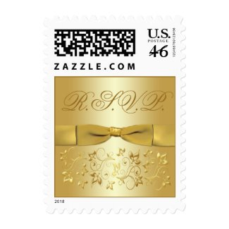 50th Anniversary Gold Floral RSVP Postage stamp
