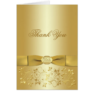 50th Anniversary Gold Floral Thank You Card Card
